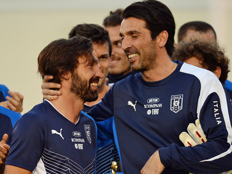 Photo of Andrea Pirlo & his friend football player  Gianluigi Buffon - Football